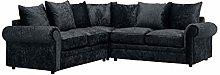 HHI Luxurious Black Crushed Velvet Corner Sofas &