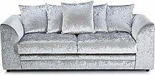 HHI modern sofa 3 Seater Silver Crushed Velvet