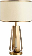 HHJJ Golden Table Lamp Bedroom Bedside Lamp
