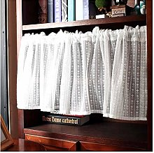 HHXD Leaf Embroidery Valance Curtain for Living
