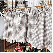 HHXD Shading Tier Curtains Linen Textured Valance