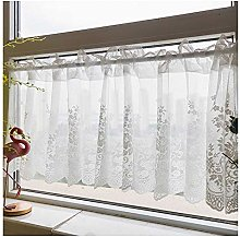 HHXD Sheer Short Window Curtain Kitchen,Ruffle