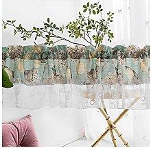 HHXD Valance Curtain Plant Flowers Textured Tier
