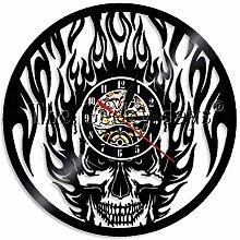 HHYXIN 1Piece Black Fire Skull Wall Clock Vintage