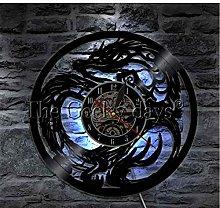 HHYXIN Vinyl Record Wall Clock Dragon Wall Clock