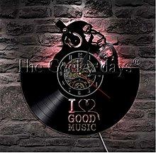 HHYXIN Vinyl record wall clock I Love Good Music