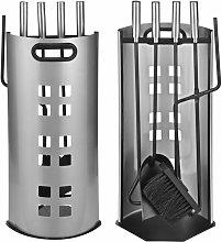 HI Fireplace Tool Set 5 pcs Silver 23x15x52 cm -