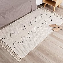 hi-home Area Rugs for Bedroom, Cotton Woven Soft