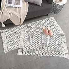 hi-home Set of 2 Cotton Rug, Boho Woven Rug with