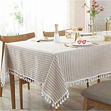 HIAQIMEI Stripe Tassel Tablecloth,Cotton Linen