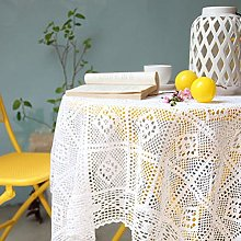 HIAQIMEI White Lace Tablecloth,Round Tassel Hollow