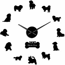 HIDFQY 3d diy digital wall clock Shih Tzu wall