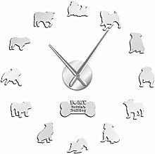 HIDFQY English Bulldog Puppy Big Wall Clock