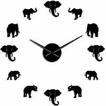 HIDFQY Large Wall Clock Jungle Animal Elephant DIY