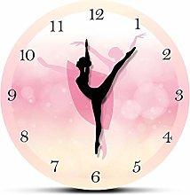 HIDFQY Silent Wall Clock Ballet dancer girl pink