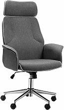 High Back Office Chair w/ Wheels Linen Upholstery