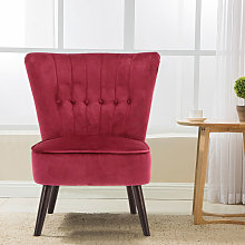 High Back Velvet Cocktail Chair With Buttons, Wine
