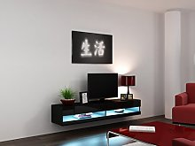 High Gloss Living Room Set with LED Lights | TV