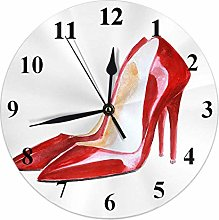 High Heels Clock Watercolor Red Leather Woman