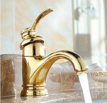 High Quality Golden Brass Basin Faucet Hot and
