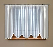High Quality White Voile Curtain With Ball Trim