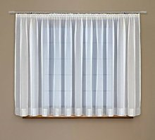 High Quality White Voile Curtain With Silver Trim