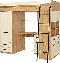 High Sleeper Bed with Desk, Drawers, Wardrobe and