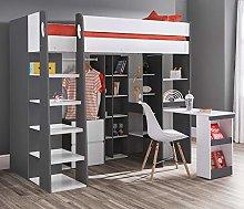 High Sleeper Storage Bed, Happy Beds Aurora Grey