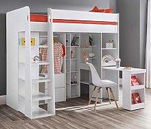 High Sleeper Storage Bed, Happy Beds Aurora White