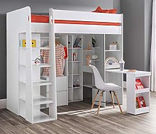 High Sleeper Storage Bed, Happy Beds Aurora White