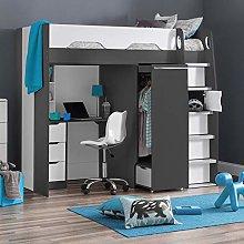 High Sleeper Storage Bed, Happy Beds Pegasus Grey