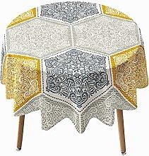 Highdi 3D Round Tablecloth Wipe Clean, Lattice