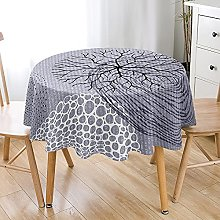 Highdi 3D Round Tablecloth Wipe Clean, Plant Print