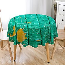 Highdi 3D Round Tablecloth Wipe Clean, Wood Grain