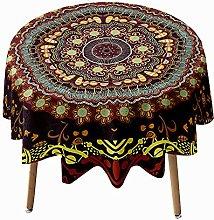 Highdi Mandala Round Tablecloth Wipe Clean, 3D