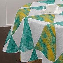 Highdi Round Tablecloth Wipe Clean, 3D Geometric