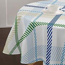 Highdi Round Tablecloth Wipe Clean, 3D Plaid