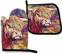 Highland Cow Oven Mitts and Pot Holders Kitchen