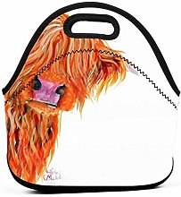 Highland Cow Peekaboo Insulated Lunch Bag Tote