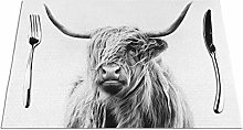 Highland Cow Placemats Washable Non-slip Heat