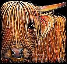 Highland Cow Print Box Canvas (Wall Art, Cow
