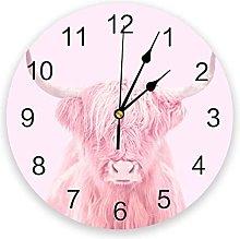 Highland Cow Wall Clock Home Decor Bedroom Silent