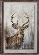 Highland Stag - Framed Print, 74 x 54cm, Brown/Gold