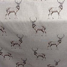 Highland Stags Beige Cotton 140cm Wide Curtain