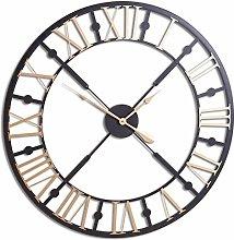 Hill 1975 Black and Gold Skeleton Clock, METAL,