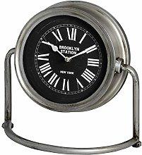 Hill 1975 Brooklyn Mantel Clock, Glass, Nickel,