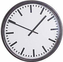 Hill 1975 Large Black Station Clock, GLASS,METAL,