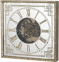 Hill 1975 Mirrored Square Framed Clock with Moving