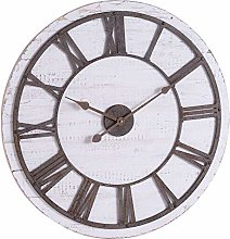 Hill 1975 Rustic Wooden Clock with Aged Numerals