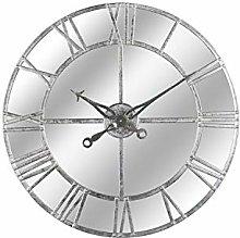 Hill 1975 Silver Foil Mirrored Wall Clock, Metal,
